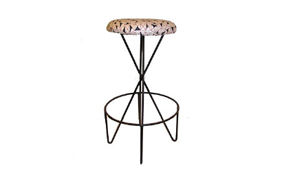 "Paul Tuttle for Modern Color Wrought iron stool with Angelo Testa  upholstered seat USA c. 1952 30.5""H x 18"" Diameter"