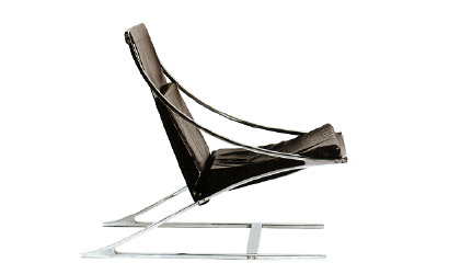 "Paul Tuttle Rare Carson-Johnson ""Z"" chair in chromed  steel and leather. USA, c. 1964 28.5""H x 26.75""W x 19.5""D"